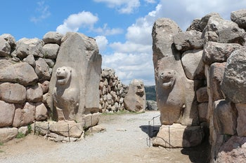 The Lion Gate in the ancient Hittite city of Hattusa, Turkey, showing the typical Mycenaean style.
