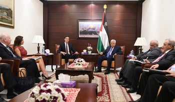 Palestinian President Mahmoud Abbas meets with U.S. presidential adviser Jared Kushner in the West Bank city of Ramallah August 24, 2017.