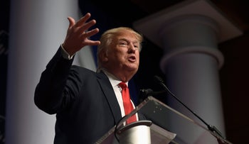 Republican presidential candidate Donald Trump speaks at the Republican Jewish Coalition Presidential Forum in Washington, December 3, 2015.