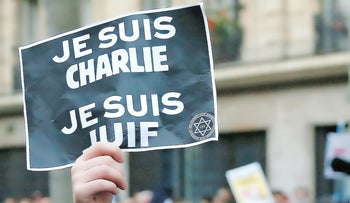 A rally in solidarity with victims of last January;s terror attacks in Paris.