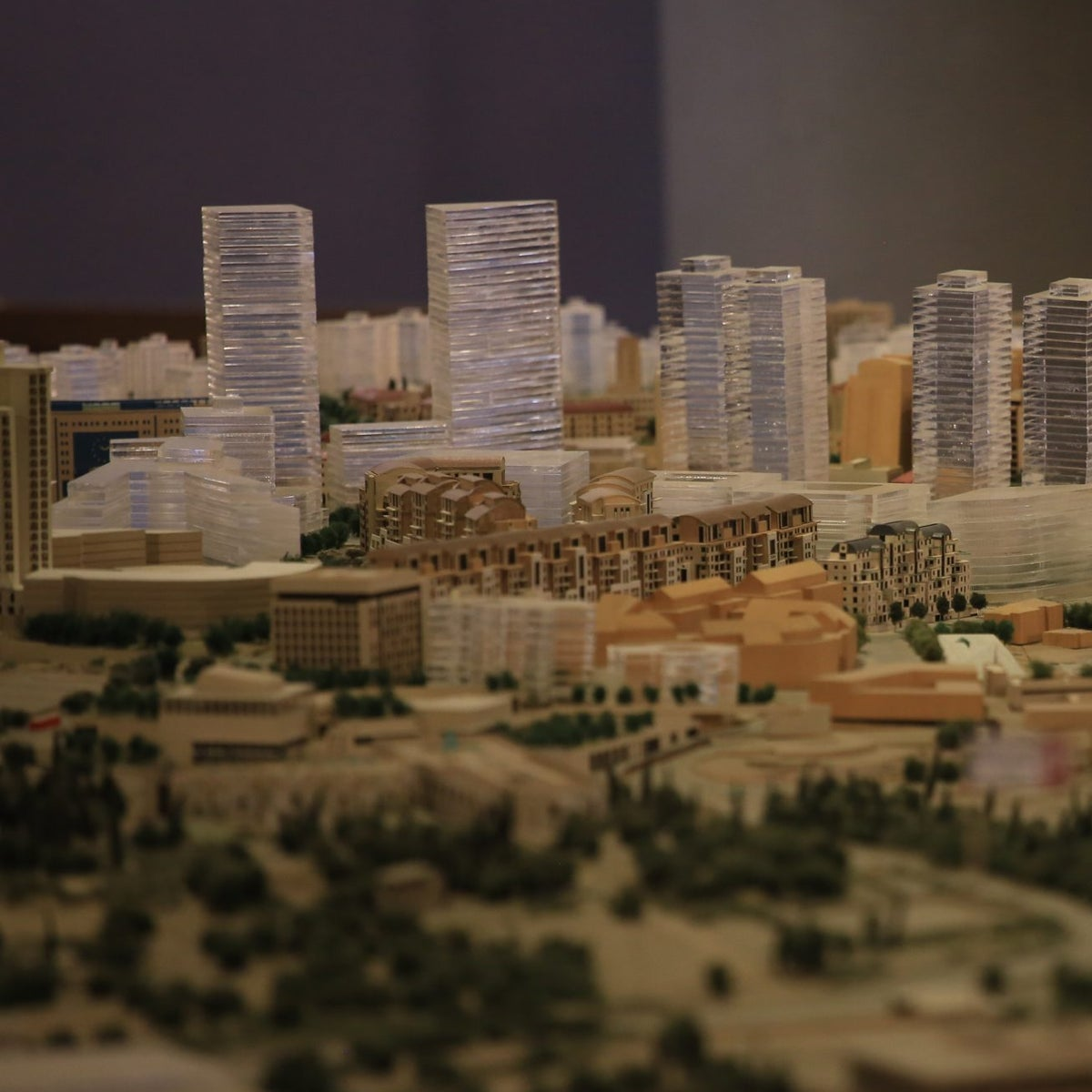 A model of the planned buildings in Jaffa Road, Jerusalem.