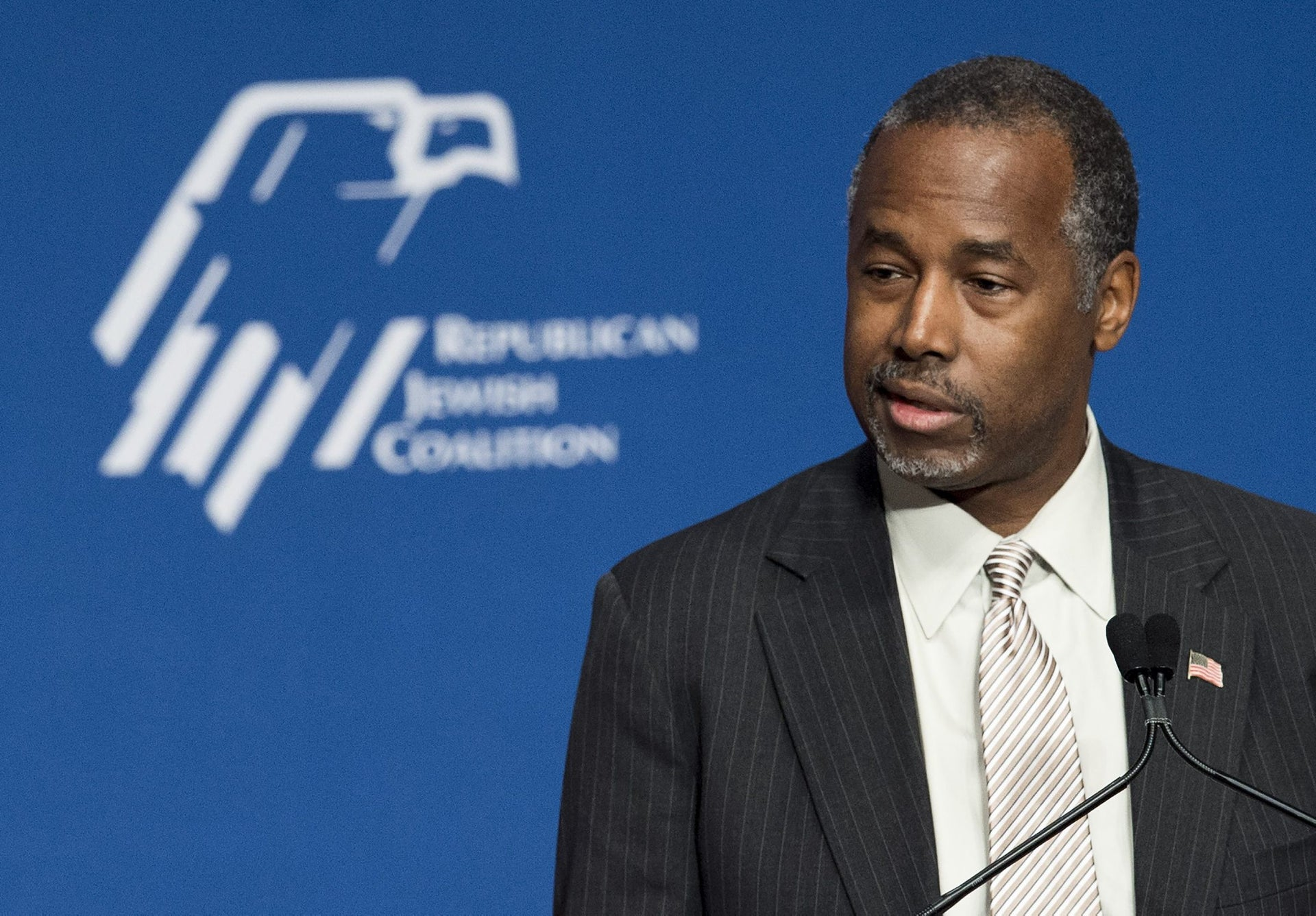 Republican Presidential hopeful Ben Carson speaks during the 2016 Republican Jewish Coalition Presidential Candidates Forum in Washington, DC, December 3, 2015.
