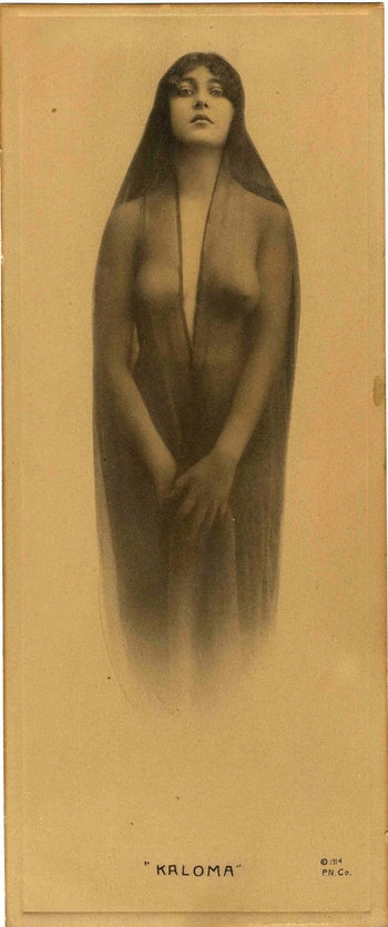 Photogravura of a semi-nude woman used by Glenn Boyer on the cover of I Married Wyatt Earp. He insisted it was a picture of Josephine from 1880 but could provide no proof.