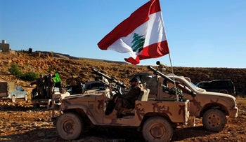 Hezbollah fighters on the Lebanon-Syria border, July 29, 2017.