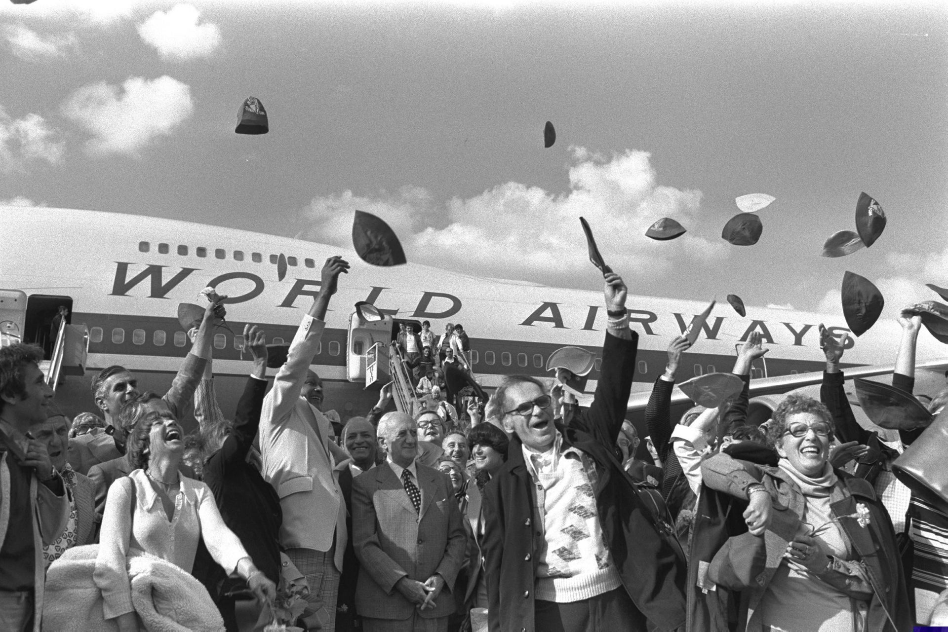 Hats off to the kova tembel! Tourists arriving in Israel in 1976.