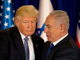 U.S. President Donald Trump and Prime Minister Benjamin Netanyahu deliver remarks before a dinner at Netanyahu's residence in Jerusalem, May 22, 2017.