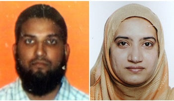 Tashfeen Malik and Syed Farook, the two suspects in the mass shooting in San Bernardino, California, December 4, 2015.