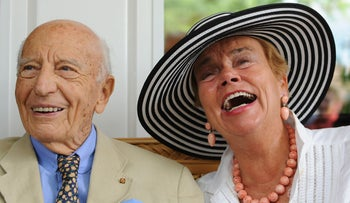 Former German President Walter Scheel pictured in July 2012 his wife Barbara in southern Germany.