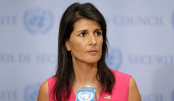 United States Ambassador to the United Nations Nikki Haley speaks to reporters at U.N. headquarters, Friday, Aug. 25, 2017.