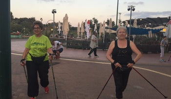 Participants in ESRA's nordic pole walking group in Ra'anana on August 22, 2016.