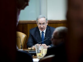 Prime Minister Benjamin Netanyahu attends the weekly cabinet meeting at his office in Jerusalem, Sunday, Dec. 11, 2016.