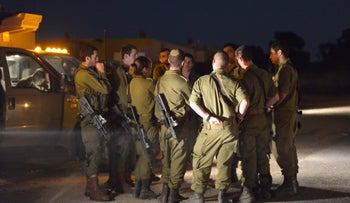 A group of IDF soldiers near the Golan Heights, earlier this year. The monthly salary of combat soldiers is due to rise as of January 1, 2016 to 1,616 shekels ($423) from 1,077 shekels.