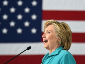 Democratic presidential candidate Hillary Clinton speaks at a campaign event in Reno, Nevada on August 25, 2016. Clinton remarked that her opponent, Republican presidential candidate Donald Trump, runs a campaign based on prejudice and paranoia.