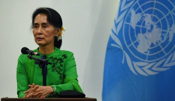 File photo: Myanmar State Counsellor and Foreign Minister Aung San Suu Kyi listening to a journalist's question during a joint press conference with the UN secretary general in Naypyidaw, August 30, 2016