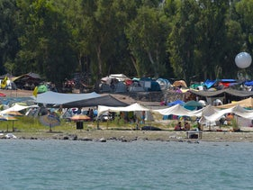 Tents along the beaches of the Sea of Galilee, where four quakes were recorded in the last 24 hours.