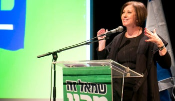 Zehava Galon addresses a meeting of the Meretz central committee, March 14, 2017