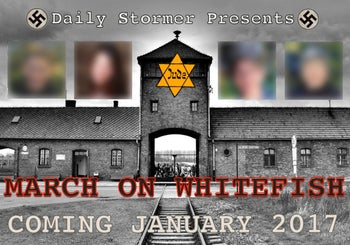 A graphic calling on people to participate in a neo-Nazi march in Whitefish, Montana.