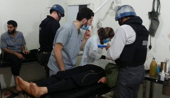 U.N. chemical weapons in the southwestern Damascus suburb of Mouadamiya August 26, 2013.