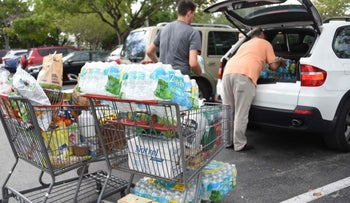 Shoppers stock up in preparation for Hurricane Irma on September 5, 2017 in Miami, Florida.