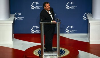 New Jersey Governor Chris Christie speaks at a Republican Jewish Coalition forum at the Reagan Building and International Trade Center in Washington December 3, 2015.