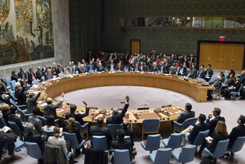 Members of the UN Security Council vote on a resolution to stop Israeli settlements on December 23, 2016.