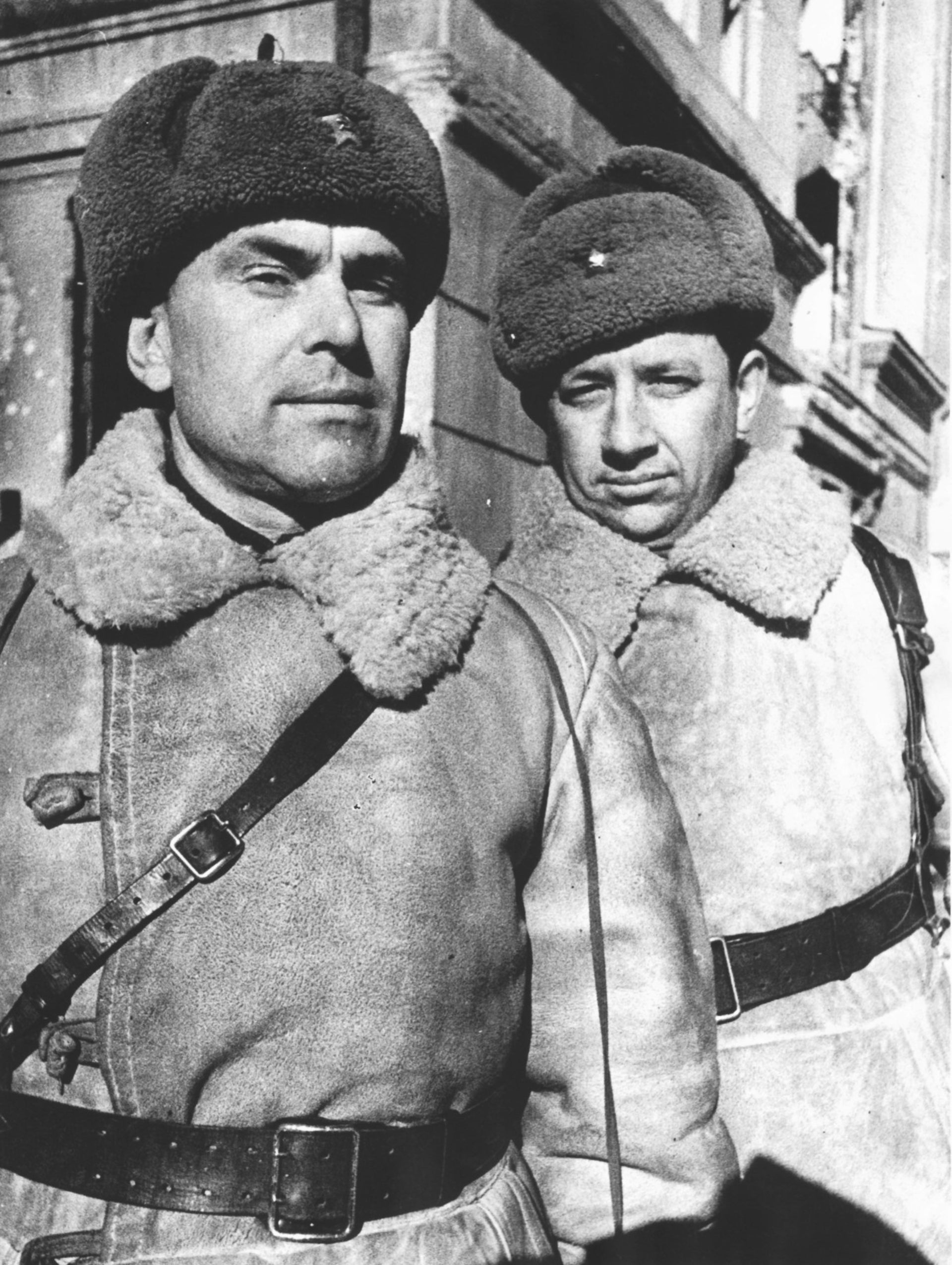 Maj. Gen. Ivan Burmakov and Lt. Col. Leonid Vinokur, two of the Russian officers interviewed after the Battle of Stalingrad.
