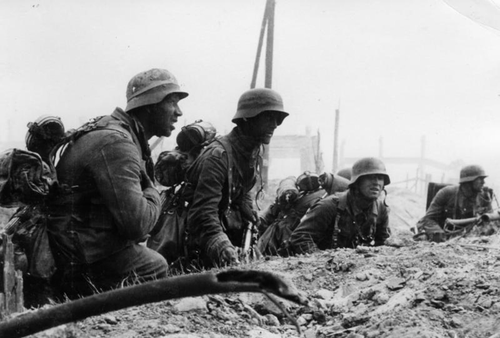 German Infantry in position for attack during the Battle of Stalingrad.