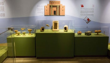 A model of the First Temple among pottery in the exhibit 'In the Valley of David and Goliath' at Jerusalem's Bible Lands Museum, starting September 6, 2016.