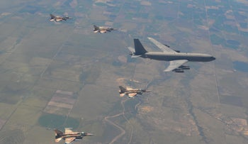 Israeli F-16I fighter jets and an aerial refueling plane during the 'Red Flag' drill in the U.S.