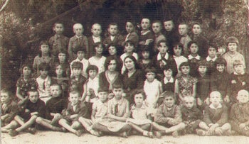 A group photograph of Jewish students and teachers in Jedwabne, Poland, in 1938.