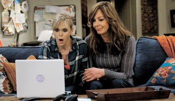 Anna Faris (left) and Allison Janney in a scene from 'Mom.' A dysfunctional view of motherhood.