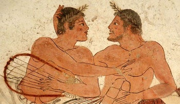 Men loving each other. From the Tomb of the Diver, Paestum, Italy.