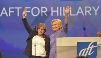 Randi Weingarten, president of the United Federation of Teachers, with Hillary Clinton.
