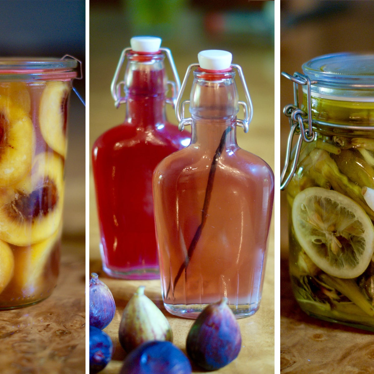 Fig and vanilla infused arak; Pomegranate infused arak / Peach and brandy preserves / Pickled okra.