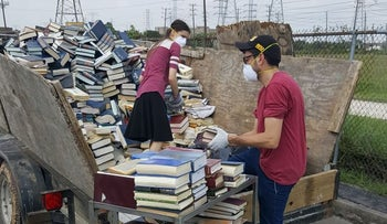 Thousands of religious Jewish books ruined by the flooding from Hurricane Harvey in Houston are carted off for burial.