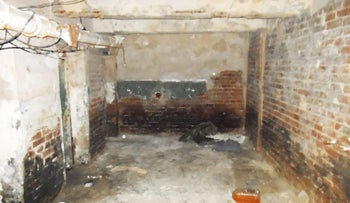 A former separatist detention and interrogation room in Lysychansk