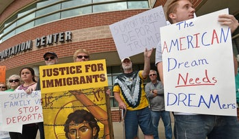 Protesters against Trump's decision to repeal DACA in Erie, Pennsylvania on September 6, 2017.