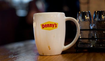 The Denny's Corp. logo at the company's restaurant in New York, U.S., on Saturday, Sept. 6, 2014.