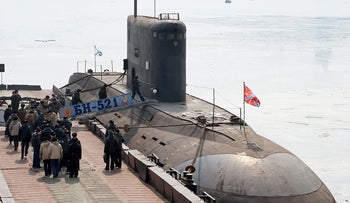 A Russian submarine of the type that is involved in the fight against ISIS in Syria.