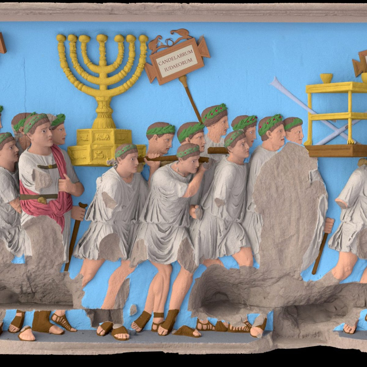 The digital reconstruction of the panel of Temple spoils, Arch of Titus