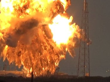 SpaceX explosion destroying AMOS-6 satellite on September 1, 2016.