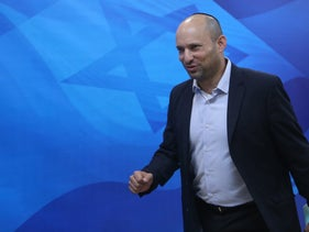 Education Minister Naftali Bennett at a weekly cabinet meeting, October 25, 2015.