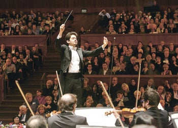 Israeli conductor Lahav Shani appearing with the Israel Philharmonic Orchestra in honor of its 80th birthday, in December, 2016.