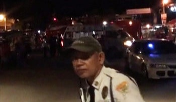 A view of the site of a blast in Davao City, Philippines September 2, 2016 in this still image taken from video.
