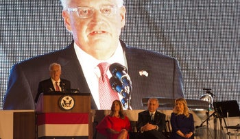 David Friedman, the United States Ambassador to Israel, speaks during a reception marking U.S Independence Day, Herzliya, Israel, July 3, 2017.