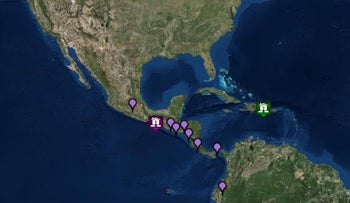The U.S. State Department's Tsunami Warning System locates the site of the center of the quake off the coast of southern Mexico. The purple markers locate potential tsunami threats.