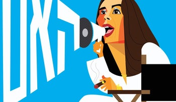 """A caricature of Miri Regev depicted as a film director, shouting """"cut!"""""""