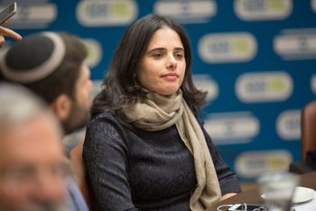 Israeli Justice Minister Ayelet Shaked, one of the two sponsors of the so-called Facebook bill, on Dec. 12, 2016.