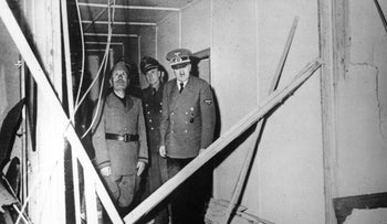 Visit of Mussolini to Hitler in the Fuhrer's headquarters at Wolfsschanze near Rastenburg (East Prussia) immediately after the assassination attempt of 20 July 1944.