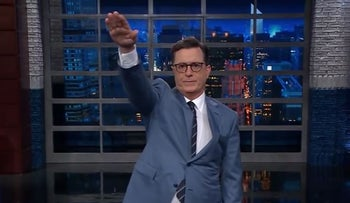Stephen Colbert pulls Nazi salute in jab at Trump and Bannon
